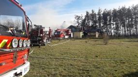 Pożar zabudowań letniskowych w Kłosach
